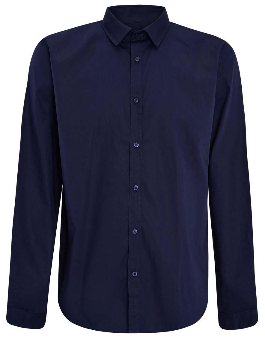 Рубашка мужская oodji Basic, цвет: темно-синий. 3B110012M/23286N/7900N. Размер 41 (50-182)3B110012M/23286N/7900NСтильная мужская рубашка oodji Basic выполнена из натурального хлопка. Модель с отложным воротником и длинными рукавами застегивается на пуговицы спереди.