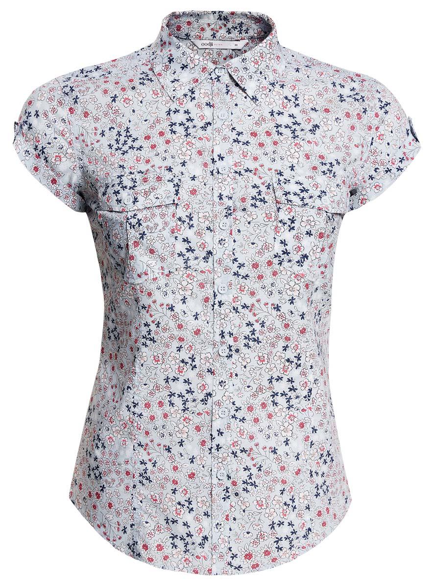 Рубашка женская oodji Ultra, цвет: голубой, белый. 11402084-3/12836/7010F. Размер 38 (44-170)11402084-3/12836/7010FСтильная женская рубашка oodji Ultra выполнена из натурального хлопка. Модель с отложным воротником и короткими рукавами застегивается на пуговицы. На груди рубашка дополнена двумя накладными карманами с клапанами на пуговицах. Оформлено изделие оригинальным принтом.