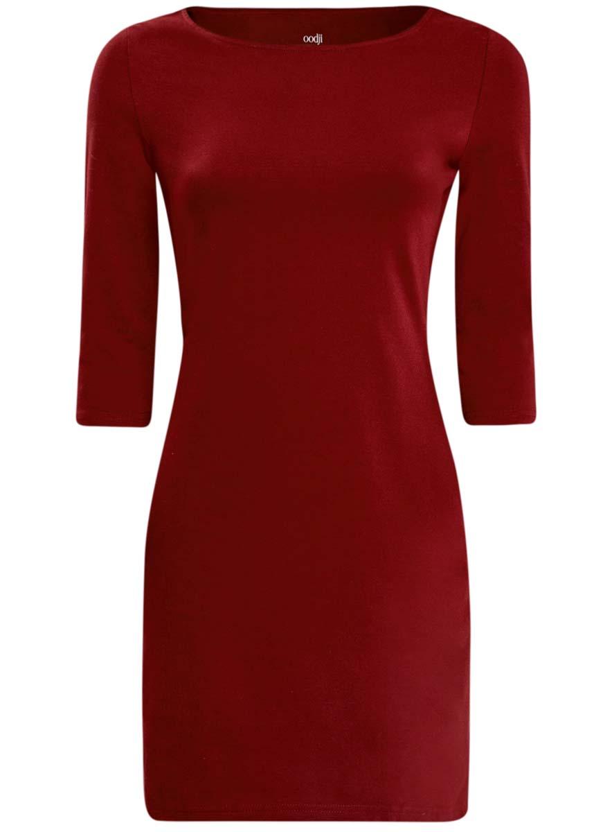 Платье oodji Ultra, цвет: бордовый. 14001071-2B/46148/4900N. Размер L (48)14001071-2B/46148/4900NСтильное платье oodji, выполненное из хлопка с добавлением эластана, отлично дополнит ваш гардероб. Модель длины мини с круглым вырезом горловины и рукавами 3/4.