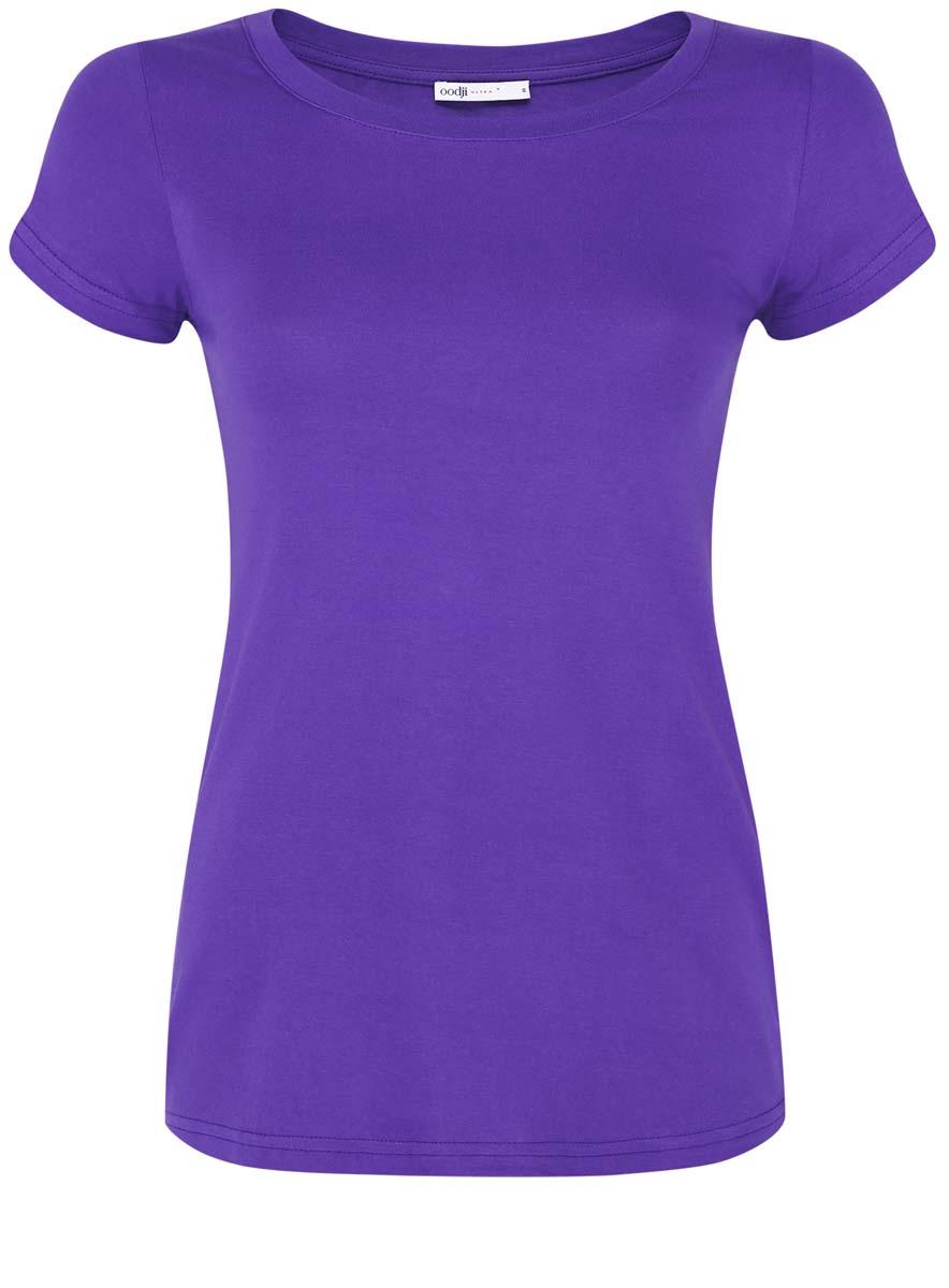 Футболка женская oodji Ultra, цвет: фиолетовый. 14701008B/46154/8300N. Размер XS (42)14701008B/46154/8300NМодная женская футболка oodji Ultra изготовлена из натурального хлопка.Модель с круглым вырезом горловины и короткими рукавами выполнена в лаконичном дизайне.