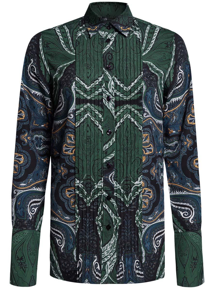Блузка женская oodji Collection, цвет: темно-зеленый, синий. 21411110/42549/6975E. Размер 38 (44-170)21411110/42549/6975EЖенская блузка oodji Collection исполнена из легкой ткани приталенного кроя. Блузка имеет длинные рукава с отложными манжетами, классический воротничок. Застегивается на пуговицы спереди и на манжетах.