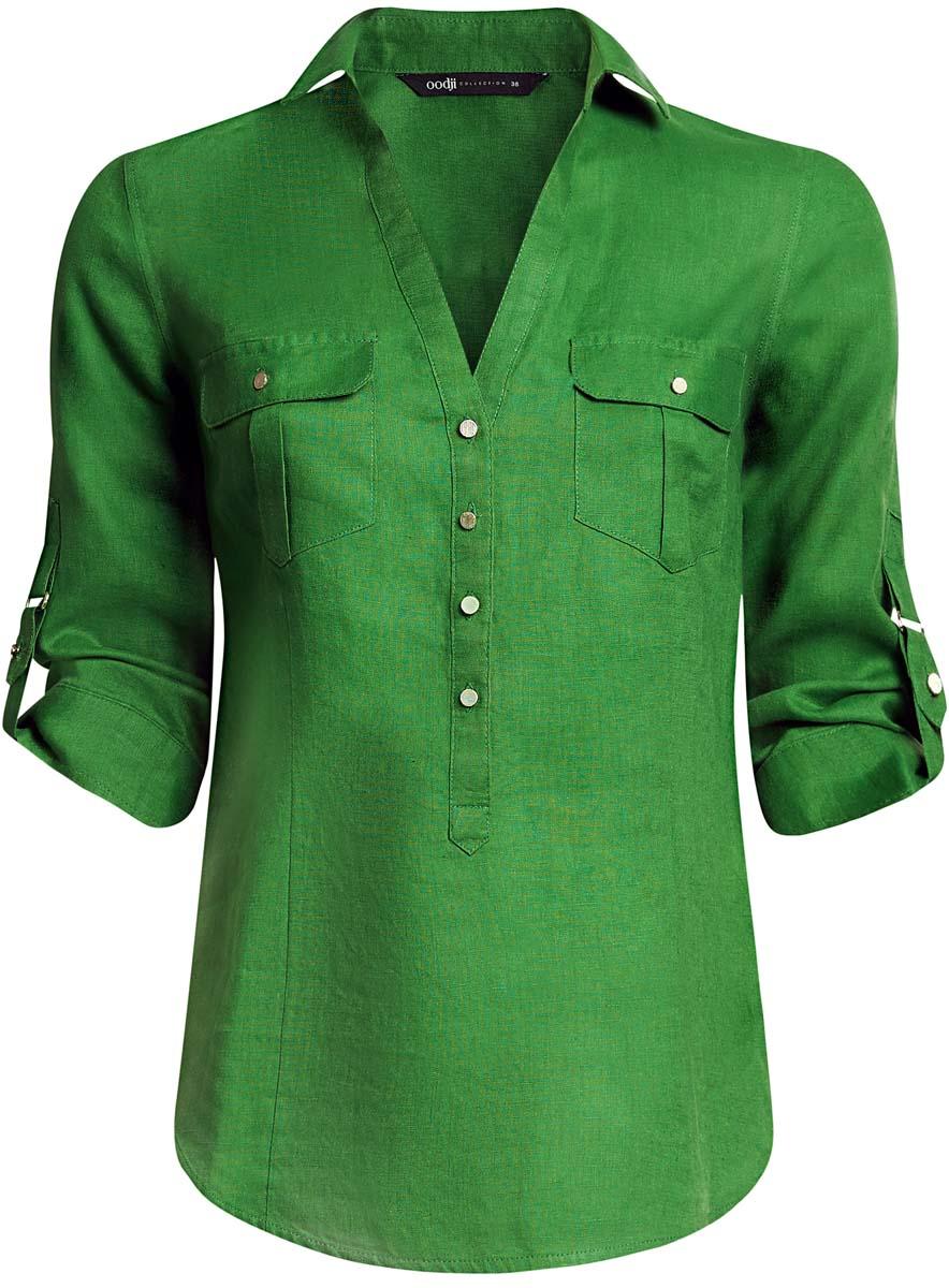 Блузка женская oodji Collection, цвет: зеленый. 21412145/42532/6E00N. Размер 36 (42-170)21412145/42532/6E00NБлузка oodji полностью выполнена из льна. Модель с отложным воротником и V-образным вырезом застегивается на металлические пуговицы. На лицевой стороне расположены два накладных кармана, закрывающиеся клапанами на пуговицы. Блузка имеет рукава 3/ 4, которые можно подворачивать и фиксировать с помощью хлястика с пуговицей на пряжку.