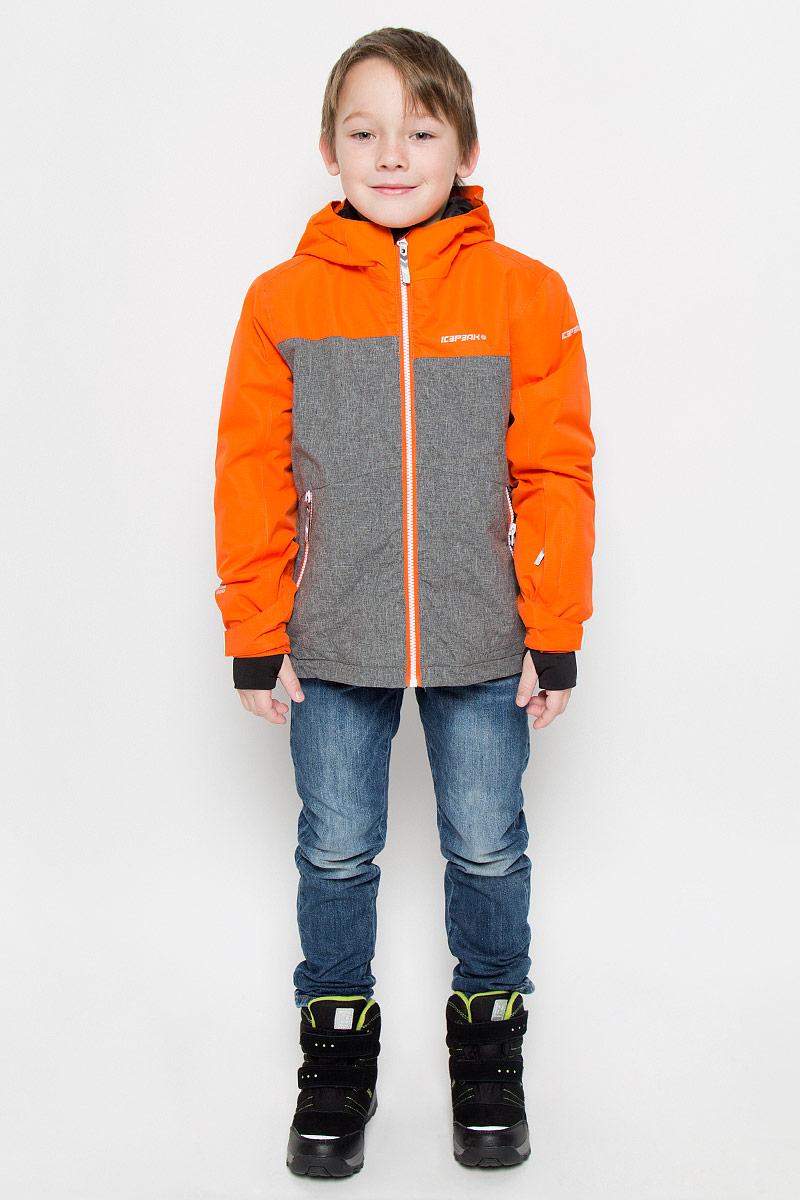 Куртка для мальчика Icepeak Harry Jr, цвет: оранжевый, серый. 650025805IV. Размер 152650025805IVКуртка, изготовленная из водоотталкивающей и ветрозащитной ткани, утеплена синтепоном. В качестве подкладки используется полиэстер. Куртка с капюшоном застегивается на молнию. Капюшон не отстегивается. Рукава дополнены внутренними манжетами с отверстиями для большого пальца. Также манжеты дополнены хлястиками на липучках. С внутренней стороны у модели предусмотрена снегозащитная юбка. Куртка дополнена двумя врезными карманами на застежках-молниях и потайными карманами на молнии и для шапки. На левом рукаве предусмотрен карман для ski pass. Низ куртки дополнен кулиской со стопперами.Изделие дополнено светоотражающим элементом для безопасности ребенка в темное время суток.