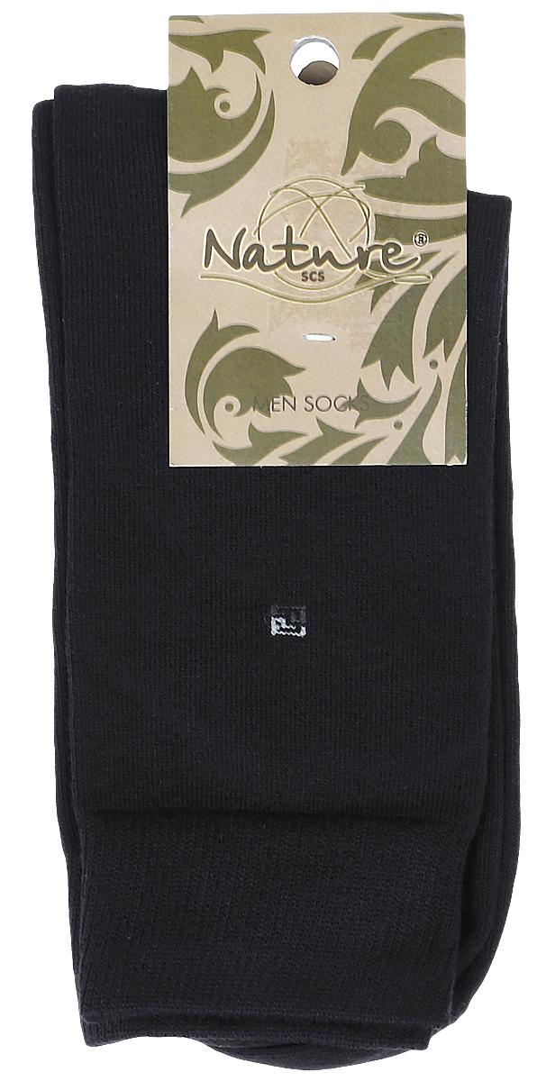 Носки мужские Nature, цвет: черный. 505. Размер 25-27505Мужские носки Nature изготовлены из высококачественного эластичного хлопка с добавлением полиамида и эластана. Носки с классическим паголенком дополнены эластичной резинкой, которая надежно фиксирует носки на ноге.
