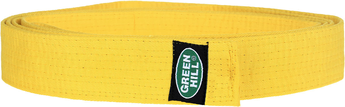 Пояс для карате Green Hill, цвет: желтый. G-1014E. Размер 280G-1014EПояс для карате Green Hill - универсальный пояс для кимоно. Пояс выполнен из плотного хлопкового материала с многорядной прострочкой. Модель дополнена текстильной нашивкой с названием бренда.