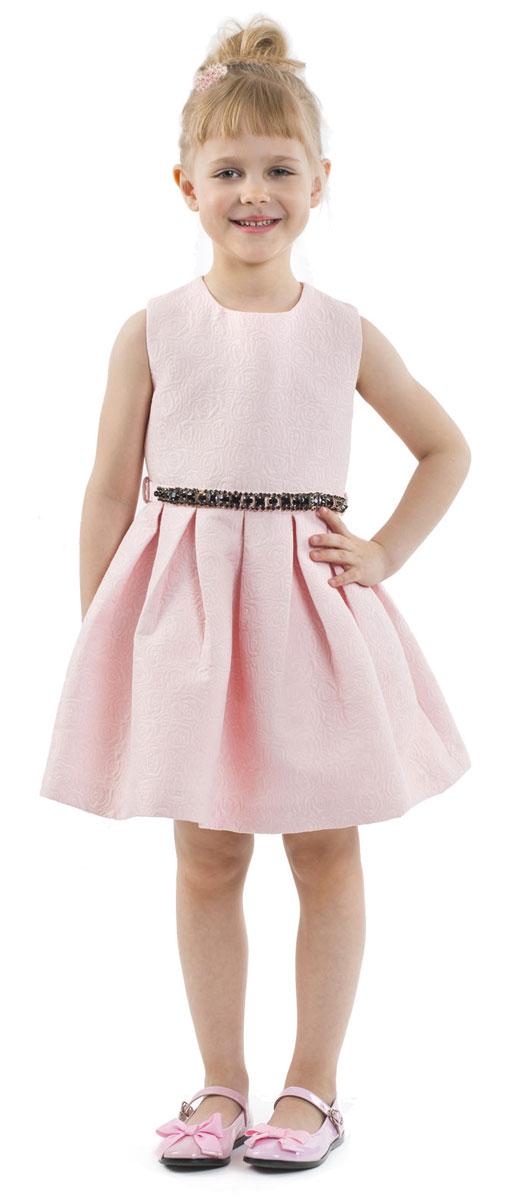 Платье для девочки Gulliver, цвет: розовый. 216GPGMC2503. Размер 98216GPGMC2503Какими должны быть нарядные платья? Разными! Кто-то предпочитает купить платье - пышную модель как у настоящей принцессы, но кто-то выбирает стильные лаконичные решения с изюминкой и загадкой. Нежное платье из благородного жаккардового полотна - идеальный вариант для тех, кто ценит изящество и элегантность. Черный пояс, расшитый стразами подчеркнет торжественность момента.