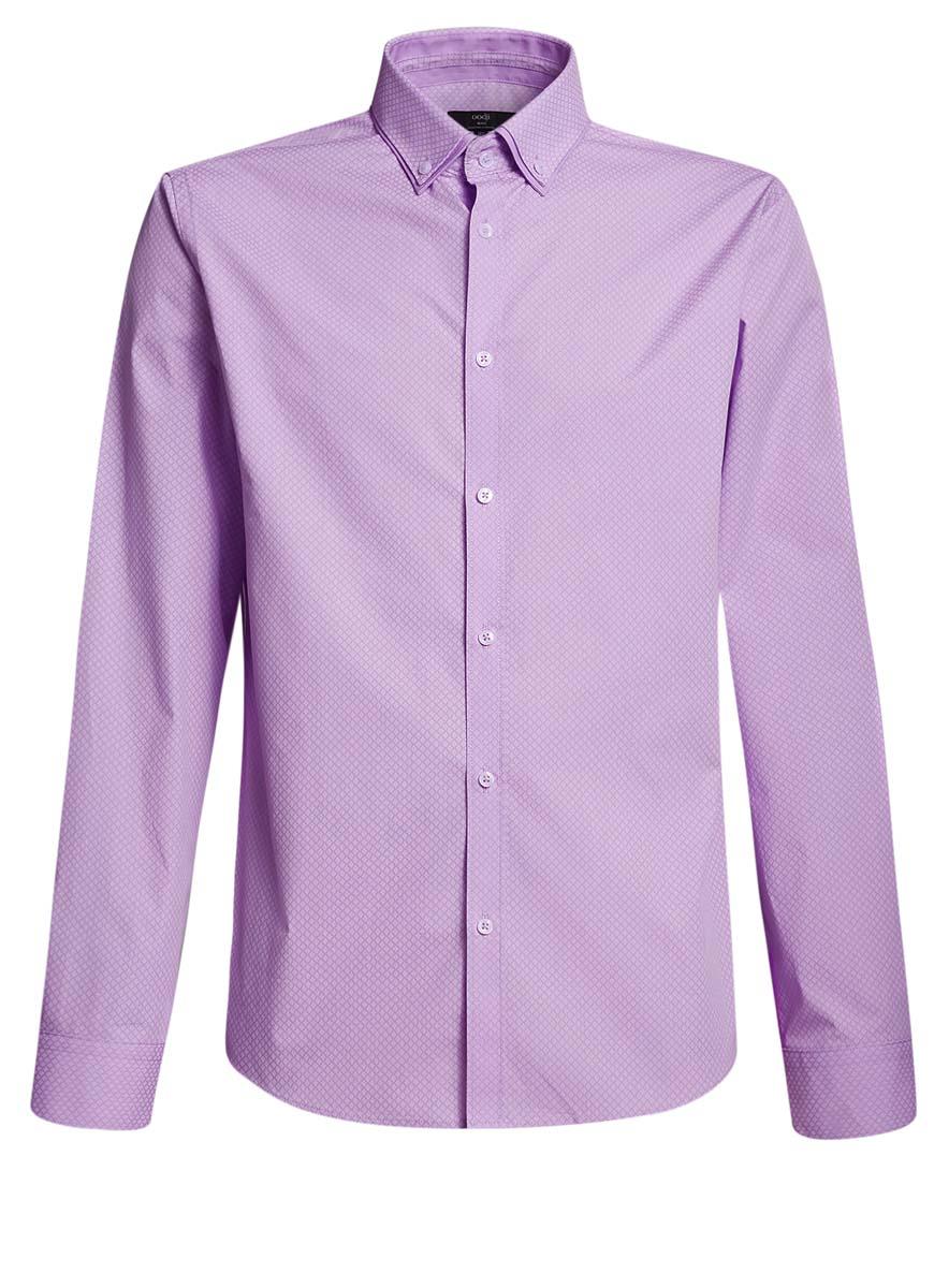 Рубашка мужская oodji, цвет: сиреневый, белый. 3L110225M/19370N/8010G. Размер 40 (48-182)3L110225M/19370N/8010GСтильная мужская рубашка oodji выполнена из натурального хлопка. Модель с отложным воротником и длинными рукавами застегивается на пуговицы спереди. Манжеты рукавов дополнены застежками-пуговицами.