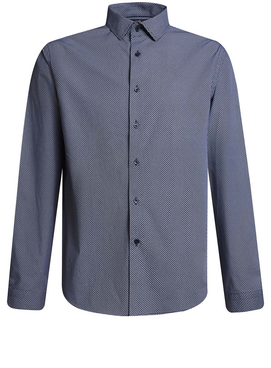 Рубашка мужская oodji, цвет: белый, темно-синий. 3L110229M/44425N/1079G. Размер 41 (50-182)3L110229M/44425N/1079GСтильная мужская рубашка oodji выполнена из натурального хлопка. Модель с отложным воротником и длинными рукавами застегивается на пуговицы спереди. Манжеты рукавов дополнены застежками-пуговицами. Оформлена рубашка мелким узором.