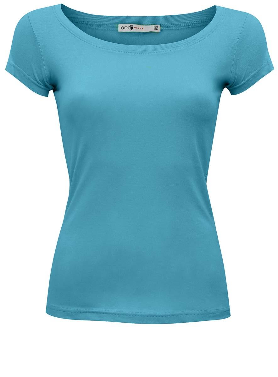 Футболка женская oodji Ultra, цвет: голубой. 11301252-10/35577/7300N. Размер 34-164 (40-164)11301252-10/35577/7300NЖенская футболка oodji Ultra выполнена полностью их хлопка. Модель с круглым вырезом горловины и стандартными короткими рукавами.