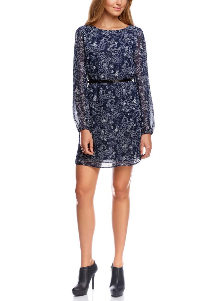 Платье oodji Ultra, цвет: темно-синий. 11900150-5/13632/7912E. Размер 34 (40-170)11900150-5/13632/7912EСтильное платье oodji Ultra выполнено из 100% полиэстера. Модель с круглым вырезом горловины и длинными рукавами оформлена интересным принтом. В комплект входит ремень из искусственной кожи с металлической пряжкой.