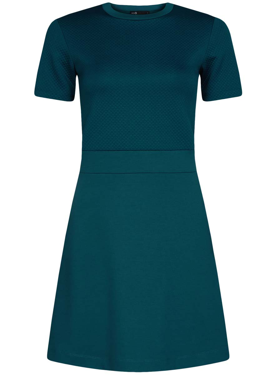 Платье oodji Ultra, цвет: морская волна. 14000161/42408/6C00N. Размер L (48)14000161/42408/6C00NТрикотажное платье oodji Ultra имеет стилизованный под блузку и юбку верх и низ. Верх платья выполнен с короткими рукавами и круглым вырезом воротничка. Низ платья выполнен свободным кроем.