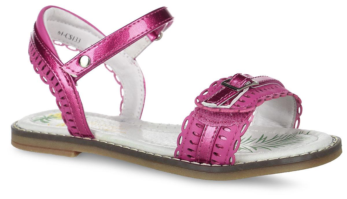 Босоножки для девочки Flamingo, цвет: темно-розовый. 61-CS133. Размер 3261-CS133Босоножки Flamingo выполнены из искусственной кожи. Модель оформлена декоративным ремешком и перфорацией. Ремешок с застежкой-липучкой надежно зафиксирует модель на ноге. Внутренняя поверхность и стелька выполнены из натуральной мягкой кожи. Стелька дополнена небольшим супинатором с перфорацией, который обеспечит правильное положение стопы и предотвратит плоскостопие. Подошва выполнена из легкого и прочного ТЭП-материала, а ее рифление гарантирует отличное сцепление с любой поверхностью.