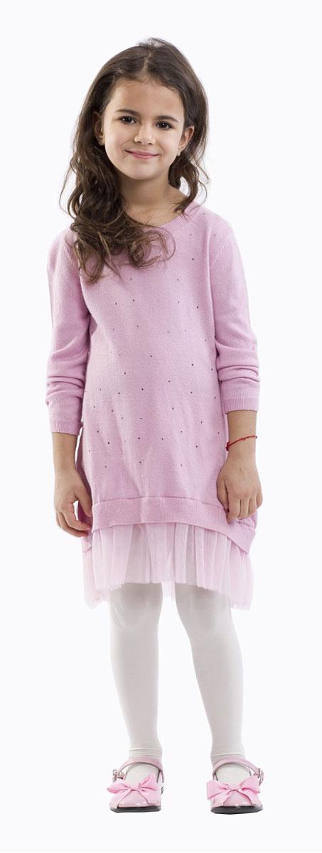 Платье для девочки Gulliver, цвет: розовый. 21601GMC0401. Размер 9821601GMC0401Какими должны быть модные платья? Новыми, интересными, необычными! Именно так выглядит это замечательное детское платье благородного розового цвета! Комбинация вязаного трикотажа и мягкой сетки имитирует модную многослойность. Свободный силуэт подчеркивает актуальность модели и дарит неповторимый комфорт. Платье оформлено мелкими сияющими стразами и деликатным металлическим медальоном с фирменной символикой. Если вы решили купить стильное, удобное, красивое платье для девочки, выбор этой модели - решение, которое ваш ребенок обязательно оценит!
