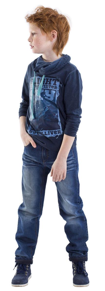 Толстовка для мальчика Gulliver, цвет: темно-синий. 21608BKC1202. Размер 14021608BKC1202Классный принт и модное неравномерное крашение делают эту толстовку интересной и даже дерзкой! Она наверняка понравится стильному спортивному мальчику с твердым характером и активной жизненной позицией.
