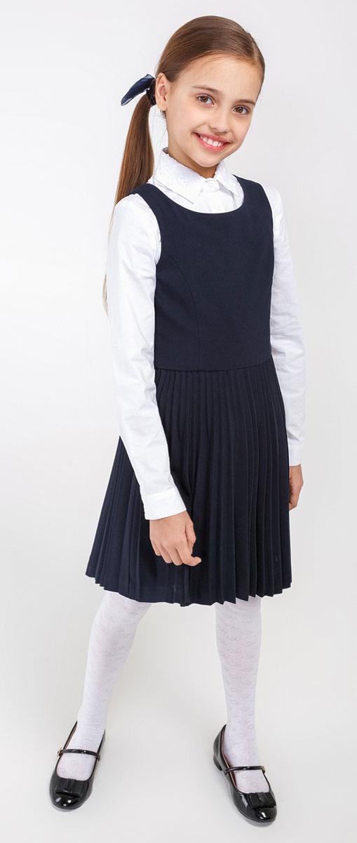 Сарафан для девочки Acoola Franklin, цвет: темно-синий. 20210200082_600. Размер 12220210200082_600Замечательный сарафан выглядит стильно и выразительно. Элегантный силуэт, юбка в складку, круглый вырез горловины наилучшим образом поддерживают деловой имидж ученицы. Модель сбоку застегивается на потайную застежку-молнию. И с блузкой, и с водолазкой, и с поло, сарафан составит красивый комфортный комплект.