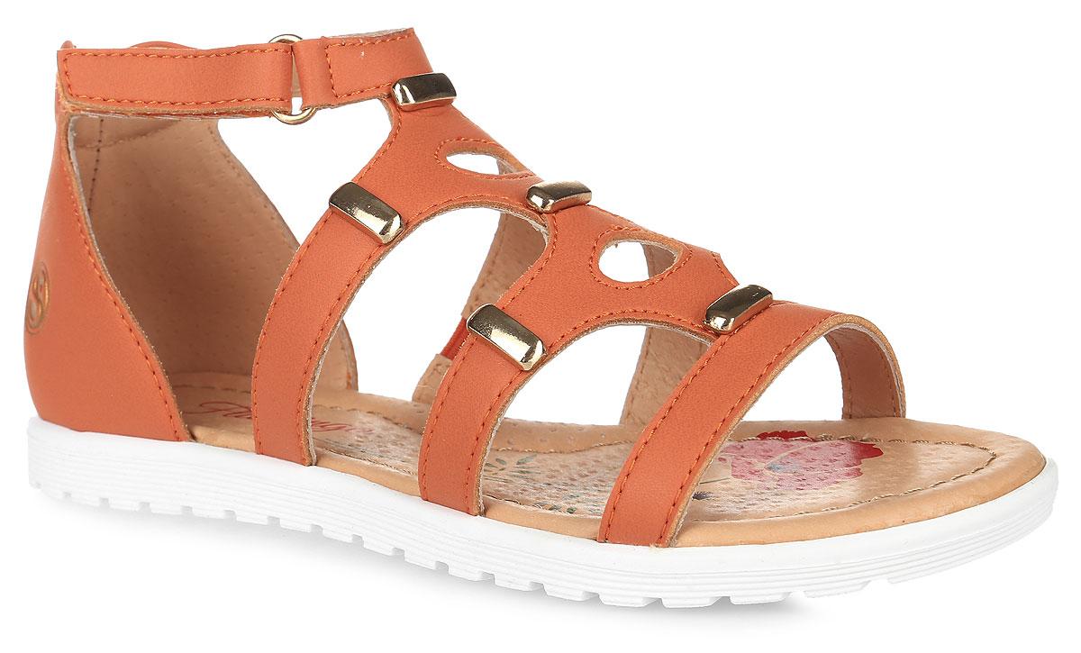 Сандалии для девочки Flamingo, цвет: оранжевый. 61-CS143. Размер 3261-CS143Модные сандалии от Flamingo приведут в восторг вашу девочку. Модель, выполненная из искусственной кожи, оформлена металлическими элементами, сбоку - тисненым логотипом бренда. Ремешок с застежкой-липучкой и высокий задник обеспечивают надежную фиксацию модели на ноге. Внутренняя поверхность и стелька из натуральной кожи комфортны при ходьбе. Стелька дополнена супинатором, который обеспечивает правильное положение стопы ребенка при ходьбе и предотвращает плоскостопие. Подошва с рифлением гарантирует отличное сцепление с любой поверхностью. Стильные сандалии - незаменимая вещь в гардеробе каждой девочки!
