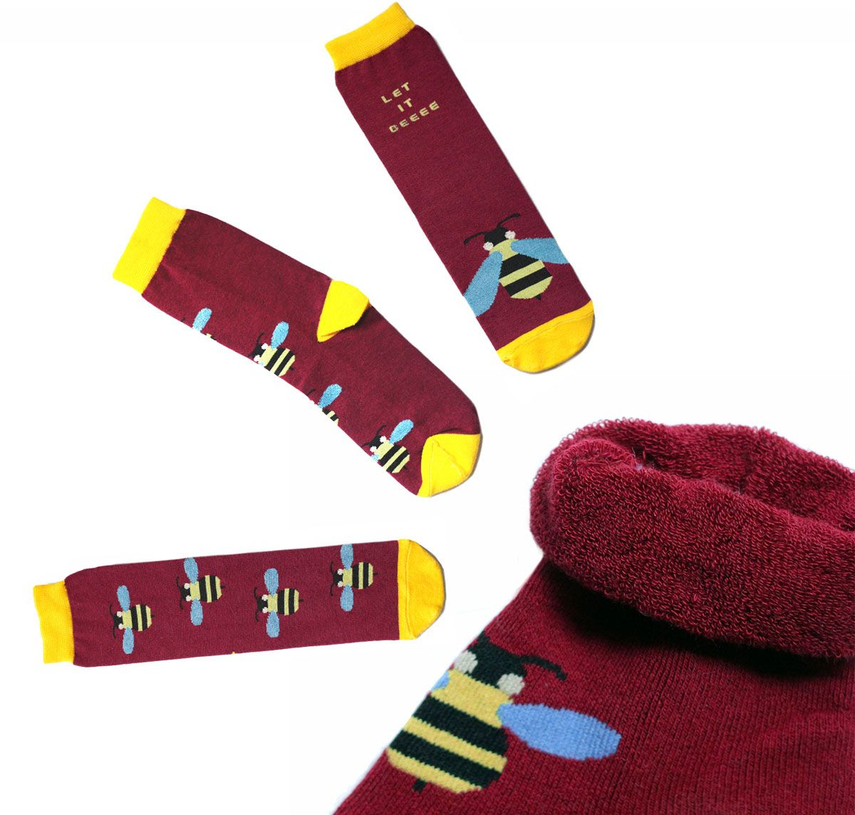 Носки мужские Big Bang Socks, махровые, цвет: бордовый, желтый. ca11033. Размер 40/44ca11033Мужские махровые носки Big Bang Socks изготовлены из высококачественного хлопка с добавлением полиамидных и эластановых волокон, которые обеспечивают великолепную посадку.Удобная резинка идеально облегает ногу и не пережимает сосуды, а удлиненный паголенок придает более эстетичный вид. Мысок и пятка усилены. Модель оформлена принтом с изображением ос и надписью Let it beeee.