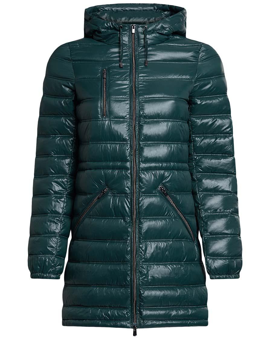 Куртка женская oodji Ultra, цвет: темно-изумрудный. 10203056/33445/6E00N. Размер 42 (48-170)10203056/33445/6E00NЖенская куртка oodji Ultra выполнена из 100% полиамида. В качестве подкладки также используется полиамид, а утеплителем служит 100% полиэстер. Модель с несъемным капюшоном застегивается на застежку-молнию с внутренней ветрозащитной планкой. Край капюшона и низ изделия дополнены шнурком-кулиской. Низ рукавов присобран на резинку. Спереди расположено три прорезных кармана на застежках-молниях, один из которых расположен на груди.