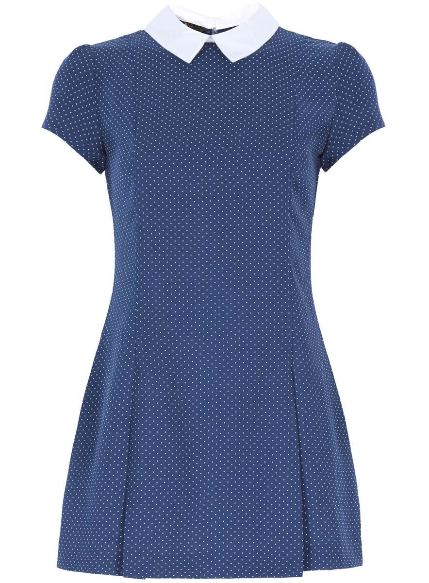 Платье oodji Ultra, цвет: темно-синий, белый. 11902153/45079/7512D. Размер 38 (44-170)11902153/45079/7512DСтильное платье oodji Ultra выполнено из 100% полиэстера. Модель с отложным воротником и короткими рукавами сзади застегивается на застежку-молнию и пуговицу. Оформлена модель принтом в горох.