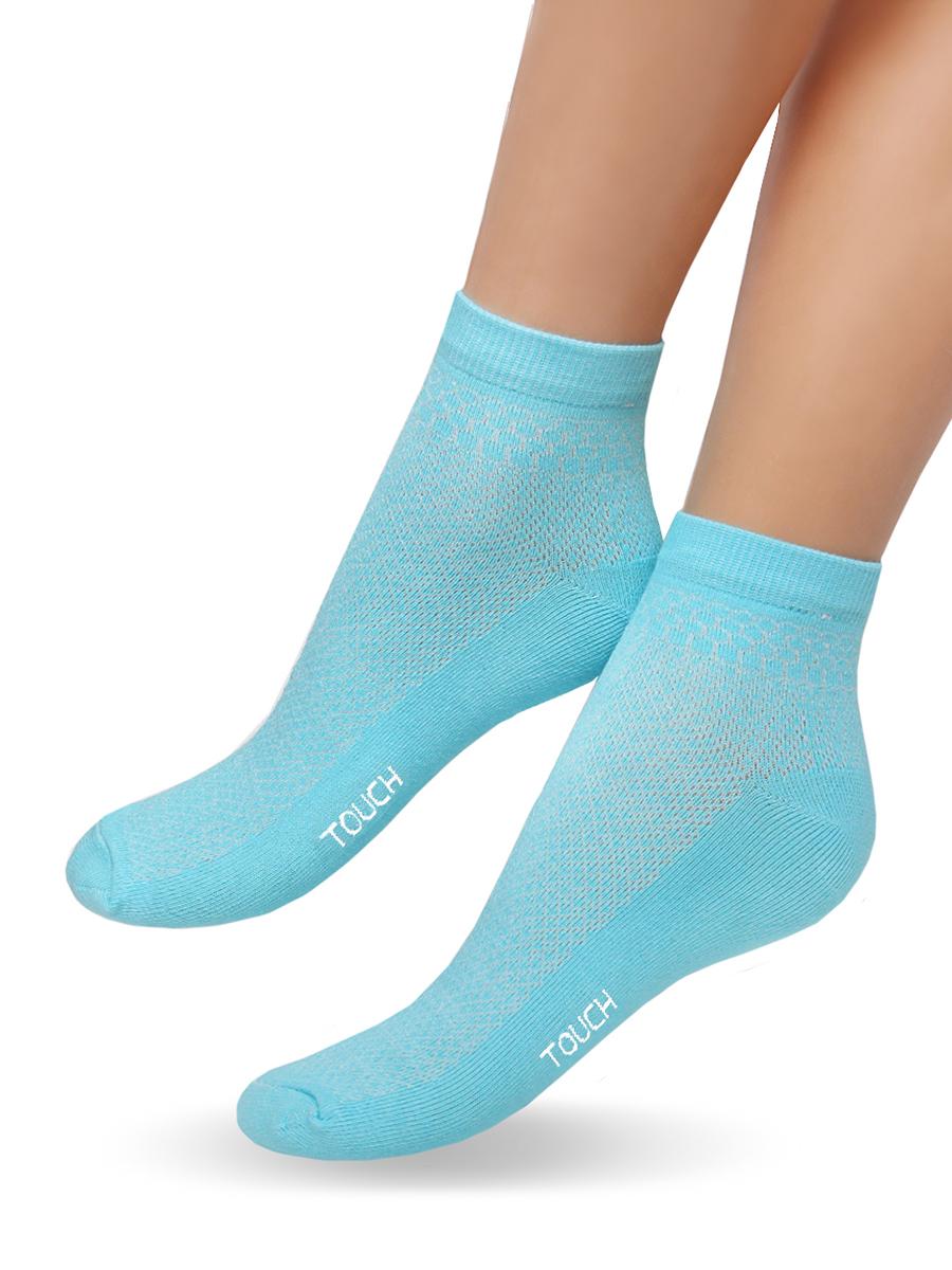 Носки женские Touch Gold, цвет: голубой. 263. Размер 23/25263Удобные облегченные женские носочки Touch Gold из лучших сортов длинноволокнистого хлопка с добавлением эластановых волокон. Верхняя часть сплетена сеточкой, что позволяет ножкам дышать. Так же эту модель отличает уплотненный след, носок и пяточка для повышения износостойкости, а так же двойная резинка для лучшей фиксации на ножке. Модель со слегка укороченным паголенком. Вы по достоинству оцените эти легкие и в то же время прочные носочки.
