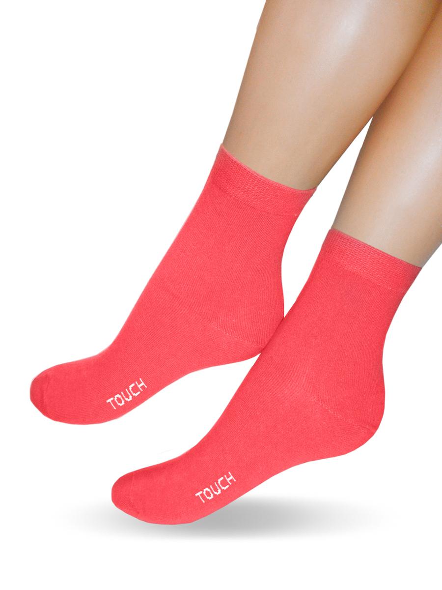 Носки женские Touch Gold, цвет: коралловый. 280. Размер 23/25280Удобные женские носочки Touch Gold, однотонные, в классическом стиле. Изготовлены из лучших сортов длинноволокнистого хлопка с добавлением эластановых волокон, которые обеспечивают износостойкость. Отличаются повышенной гладкостью, эластичностью и воздухопроницаемостью. Снабжены двойной резинкой, что обеспечивает превосходную посадку.