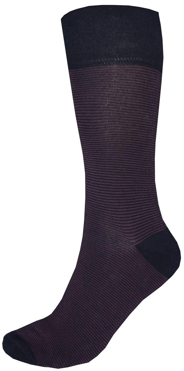 Носки мужские Burlesco, цвет: фиолетовый, черный. C812. Размер 25 (39-40)C812Мужские носки Burlesco изготовлены из высококачественного хлопка с добавлением полиэстера, полиамида и эластана. Носки комфортно прилегают к ноге без образования складок. Идеальны для повседневной носки. Изделие оснащено широкой эластичной мягкой резинкой. Мысок и пятка усилены. Оформлены узором в виде полос.