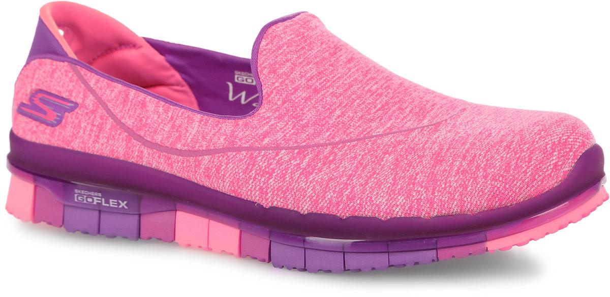 Кроссовки для фитнеса женские Skechers Go Flex - Stride, цвет: фиолетовый, розовый. 14012-PUR. Размер 6 (36)14012-PURКроссовки для фитнеса Skechers выполнены из текстиля Supersocks, благодаря которому обувь идеально сидит на ноге. Стельки GOGA Mat обладают хорошими амортизационными качествами и обработаны биоцидом для борьбы с микробами, вызывающими специфический запах.Новая инновационная подошва Resalyte Flex обеспечивает максимальную гибкость при ходьбе.
