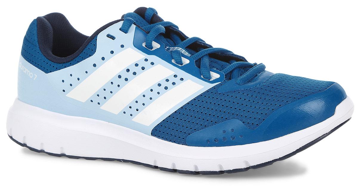 Кроссовки для бега женские adidas Performance Duramo 7, цвет: голубой. AQ6503. Размер 6,5 (38,5)AQ6503Модные женские кроссовки Duramo 7 от adidas Performance придутся вам по душе. Верх, выполненный из сетчатого дышащего текстиля, дополнен бесшовными накладками из ПВХ. Одна из боковых сторон и язычок оформлены названием и логотипом бренда, другая сторона - названием модели. Подкладка из текстиля не натирает. Стелька Ortholite из материала ЭВА с текстильной поверхностью комфортна при движении. Классическая шнуровка с прорезиненной панелью надежно фиксирует модель на ноге. Легкая промежуточная подошва из материала ЭВА со вставкой Adiprene обладает высокой износостойкостью и обеспечивает идеальную амортизацию. Резиновая подошва с протектором гарантирует идеальное сцепление с любыми поверхностями. В этих функциональных кроссовках вам захочется использовать каждую возможность отправиться на пробежку.