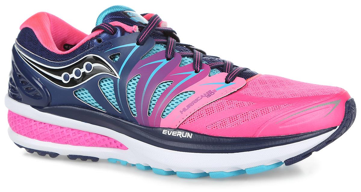 Кроссовки для бега женские Saucony Hurricane Iso 2, цвет: синий, розовый. S10293-4. Размер 8 (38)S10293-4Женские кроссовки Hurricane Iso 2 от Saucony разработаны специально для бега.Верх выполнен из дышащего текстиля со вставками из искусственной кожи и термополиуретана. Верх с технологией Isofit обеспечивает надежную и максимально удобную поддержку ноги. Материал подкладки, выполненный по технологии Rundry, и вставки из сетки эффективно отводят влагу.Стелька из EVA с текстильной поверхностью комфортна при беге. Шнуровка надежно фиксирует модель на ноге.Технология Everun обеспечивает амортизацию в пяточной части и уменьшаетнагрузку на переднюю часть стопы при отталкивании.Подошва с системой Pwrgrid+ разработана на базе технологии PowerGrid: материал Powerfoam интегрирован с технологией Grid, что позволяет оптимально поглощать нагрузки и распределять давление. Система Pwrgrid+ обеспечивает увеличение амортизации более чем на 20% и более чем на 15% устойчивости, чем предыдущая система PowerGrid, результатом чего являются наиболее комфортные ощущения при беге.Специальный рисунок протектора и подошва XT-900 гарантируе оптимальное сцепления с поверхностью.