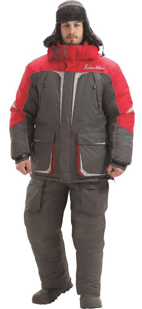 Костюм рыболовный мужской FisherMan Nova Tour Буран V3, цвет: серый, красный. 95845-052. Размер S (48)95845-052Очень теплый костюм для любителей малоактивной зимней рыбалки. Большие количество карманов, свободный крой, не стесняющий движения, несмотря на визуальную объемность. Не стоит забывать, что это годами проверенный костюм, в новой версии он стал более ярким и технологичным. Высокая плотность ткани и мембрана защитят от ветра и осадков, Объемный капюшон можно одеть поверх любого головного убора, высокий воротник создаст дополнительное чувство комфорта и защищенности от стихии. Влагостойкость: 5000 мм.Паропроницаемость: 5000мл./м.кв./24часа.