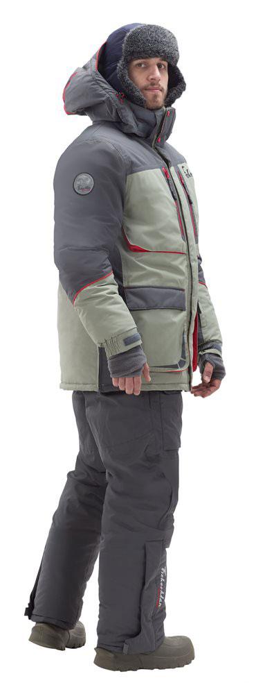 Костюм рыболовный мужской FisherMan Nova Tour Фишермен Норд V2, цвет: серый, оливковый. 95848-560. Размер S (48)95848-560Классический костюм для зимней рыбалки! Идеально подойдет для любого типа рыбалки, будь то мормышка, жерлицы или блесна! Продуманные карманы разместят все необходимое, а также оставят ваши руки в тепле. Высокий воротник и объемный капюшон будут актуальный в сильный ветер, яркие элементы на костюме будут заметны в любую метель! Новый дизайн выгодно выделяет этот костюм, время, когда на рыбалку носили что не жалко уже прошло! Не забывайте потдевать флисовый комплект и термобелье, тогда любые морозы нипочем!Влагостойкость: 3000 мм.Влагостойкость, мм. Паропроницаемость: 3000 мл./м.кв./24часа.