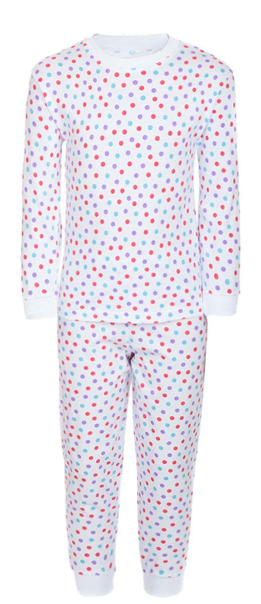 Пижама детская M&D, цвет: белый, мультиколор. ПЖ180325. Размер 104ПЖ180325Уютная детская пижама M&D, состоящая из лонгслива и брюк, изготовлена из натурального хлопка. Лонгслив с длинными рукавами и круглым вырезом горловины оформлен стильным принтом в горох.Брюки на талии имеют эластичную резинку. Вырез горловины, манжеты рукавов и низ брючин дополнены трикотажными резинками.