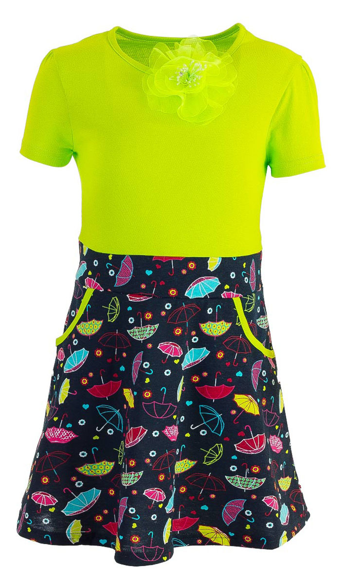 Платье для девочки M&D, цвет: салатовый, мультиколор. WD5431A-14. Размер 98WD5431A-14Модное платье для девочки выполнено из натурального хлопка. Модель с круглым вырезом горловины и короткими рукавами дополнено съемной брошкой. Спереди платье оснащено двумя втачными кармашками.