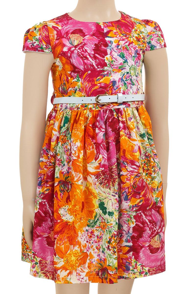 Платье для девочки M&D, цвет: мультиколор. SSP1620-3. Размер 98SSP1620-3Платье M&D collection полностью выполнено из хлопка и оформлено оригинальным цветочным принтом. Модель с коротким рукавом-фонариком и круглым вырезом застегивается сзади с помощью молнии. Подкладка и подъюбник выполнены из хлопка. Платье оснащено тонким ремнем из искусственной кожи, который застегивается с помощью металлической пряжки.