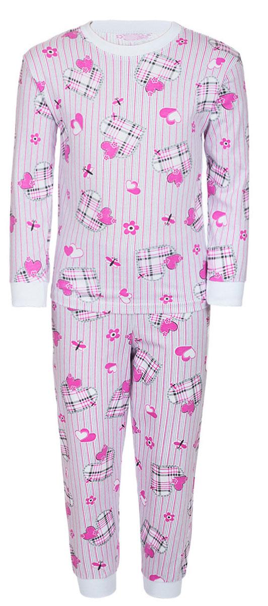 Пижама для девочки M&D, цвет: белый, фуксия. ПЖ180305. Размер 116ПЖ180305Уютная пижама M&D для девочки, состоящая из лонгслива и брюк, изготовлена из натурального хлопка. Лонгслив с длинными рукавами и круглым вырезом горловины оформлен оригинальным принтом.Брюки на талии имеют эластичную резинку. Вырез горловины, манжеты рукавов и низ брючин дополнены трикотажными резинками.