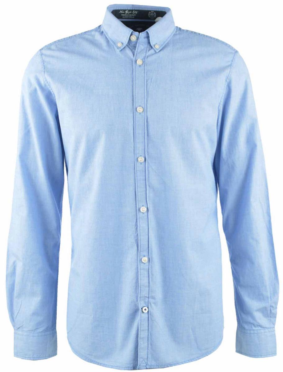 Рубашка мужская Tom Tailor, цвет: голубой. 2032635.00.10_6930. Размер M (48)2032635.00.10_6930Стильная мужская рубашка Tom Tailor изготовлена из натурального хлопка.Модная рубашка с длинными рукавами и отложным воротником застегивается на пуговицы. Рукава дополнены манжетами на пуговицах.