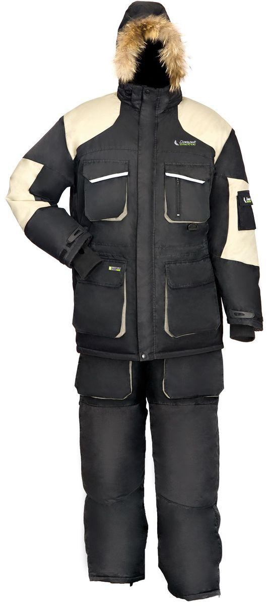 Костюм рыболовный зимний Arctix Down Suit (до -40С), цвет: серо-черный. 810-10001. Размер M (48/50)810Костюм зимний, пуховой, Arctix Down Suit предназначен для эксплуатации при температуре до -40°С. Костюм разработан для зимней рыбалки с полной адаптацией для езды на снегоходе. Куртка имеет теплый карман для мобильного телефона. Оснащена двухзамковой застежкой-молнией YKK с клапаном на кнопках. Фиксатор, стягивающий капюшон. Крепление капюшона к куртке замком-молнией. Фиксатор, стягивающий низ куртки. Эластичные, удлиненные и утепленные манжеты с прорезью под большой палец. Снегозащитная юбка. Светоотражающие нашивки безопасности. Усиление материала на плечах. Специальная конструкция подкладки с зонами, улучшающими отвод влаги.Полукомбинезон имеет удобные, регулируемые лямки на замке. Шлевки под ремень. Фиксатор, регулирующий талию. Двухзамковая застежка-молния YKK с клапаном на липучке. Накладные карманы с клапаном. Материал повышенной прочности в области седалища и колен. Боковые молнии снизу позволяют быстро надеть полукомбинезон, не снимая обуви. Внутренние снегозащитные гетры.