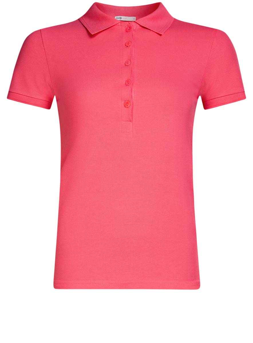 Поло женское oodji Ultra, цвет: ярко-розовый. 19301001-1B/46161/4D00N. Размер S (44)19301001-1B/46161/4D00NПоло женское oodji Ultra изготовлено из высококачественного хлопка. Имеет короткие рукава и застегивается спереди на пуговицы.