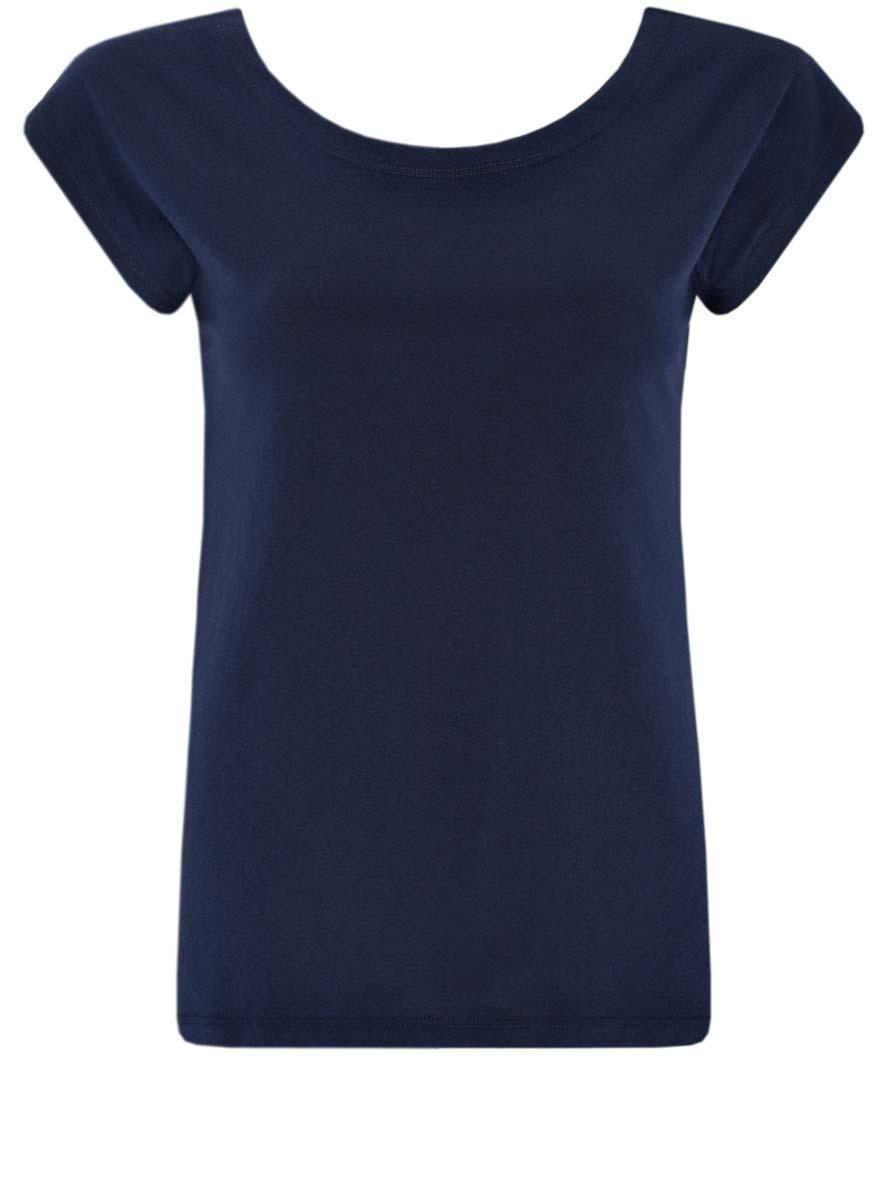 Футболка женская oodji Ultra, цвет: темно-синий. 14702001/46158/7900N. Размер XS (42)14702001/46158/7900NМодная женская футболка oodji Ultra изготовлена из натурального хлопка. Модель с круглым вырезом горловины и короткими цельнокроеными рукавами выполнена в лаконичном дизайне.