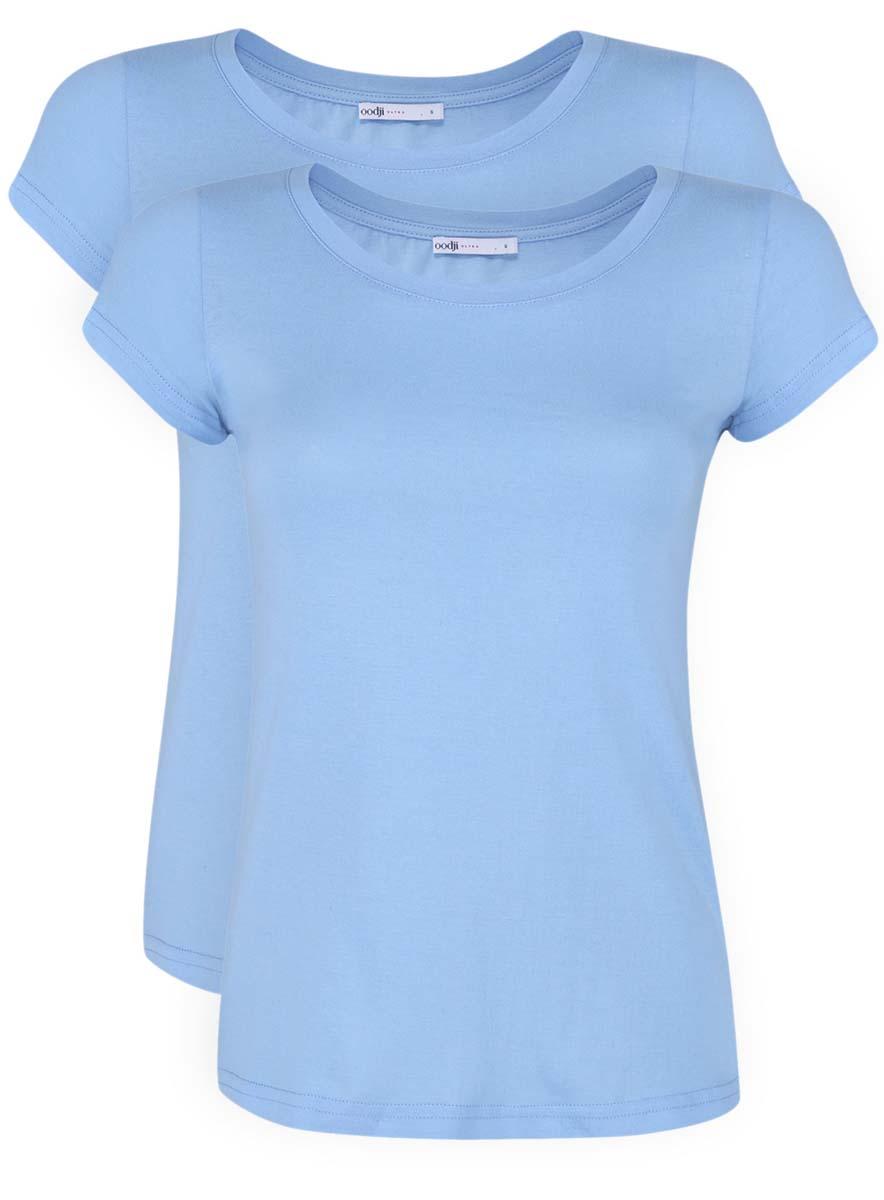 Футболка женская oodji Ultra, цвет: голубой, 2 шт. 14701008T2/46154/7001N. Размер XS (42)14701008T2/46154/7001NЖенская приталенная футболка выполнена из хлопка. Модель с круглым вырезом горловины и стандартными короткими рукавами. В комплект входят 2 футболки.
