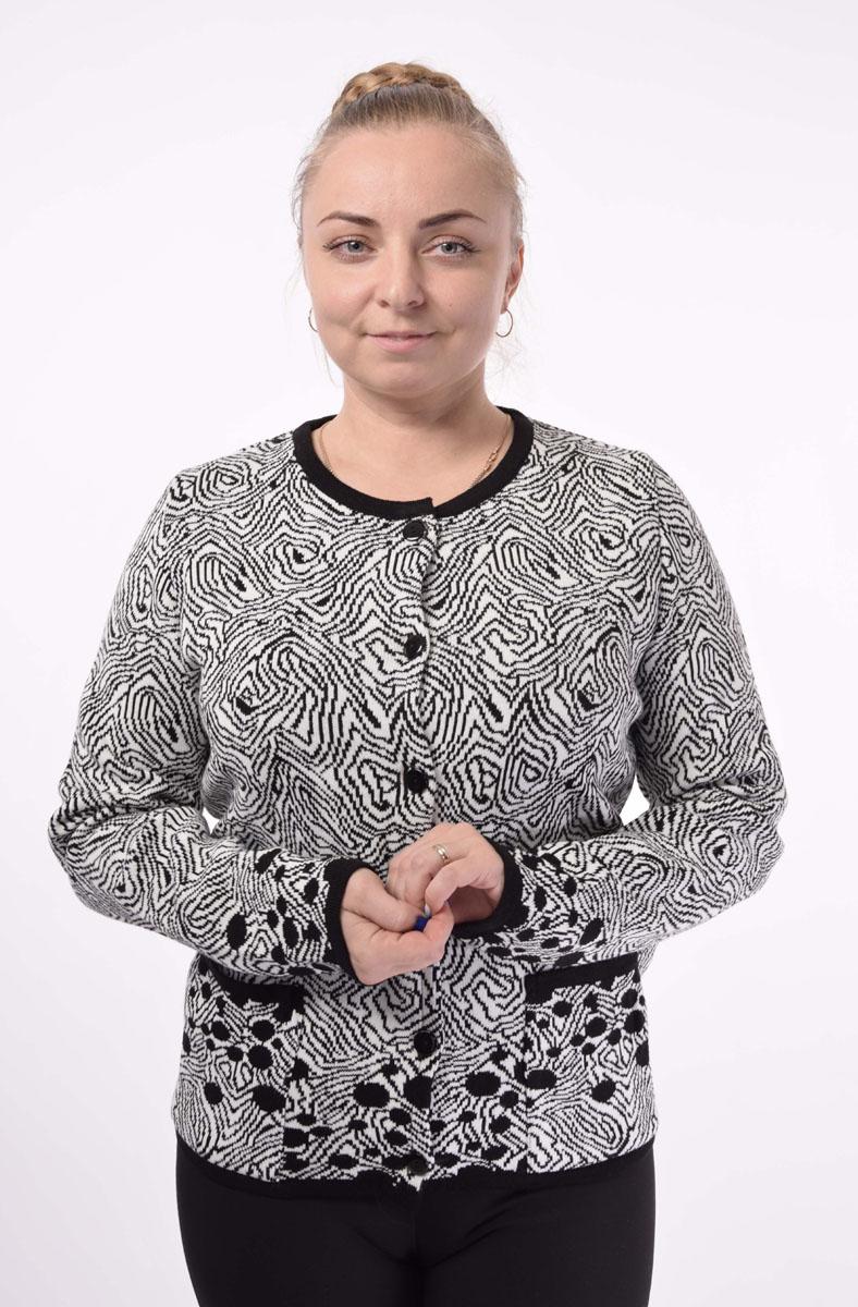 цена  Жакет женский Milana Style, цвет: черный, белый. 34367. Размер 6XL (60)  онлайн в 2017 году