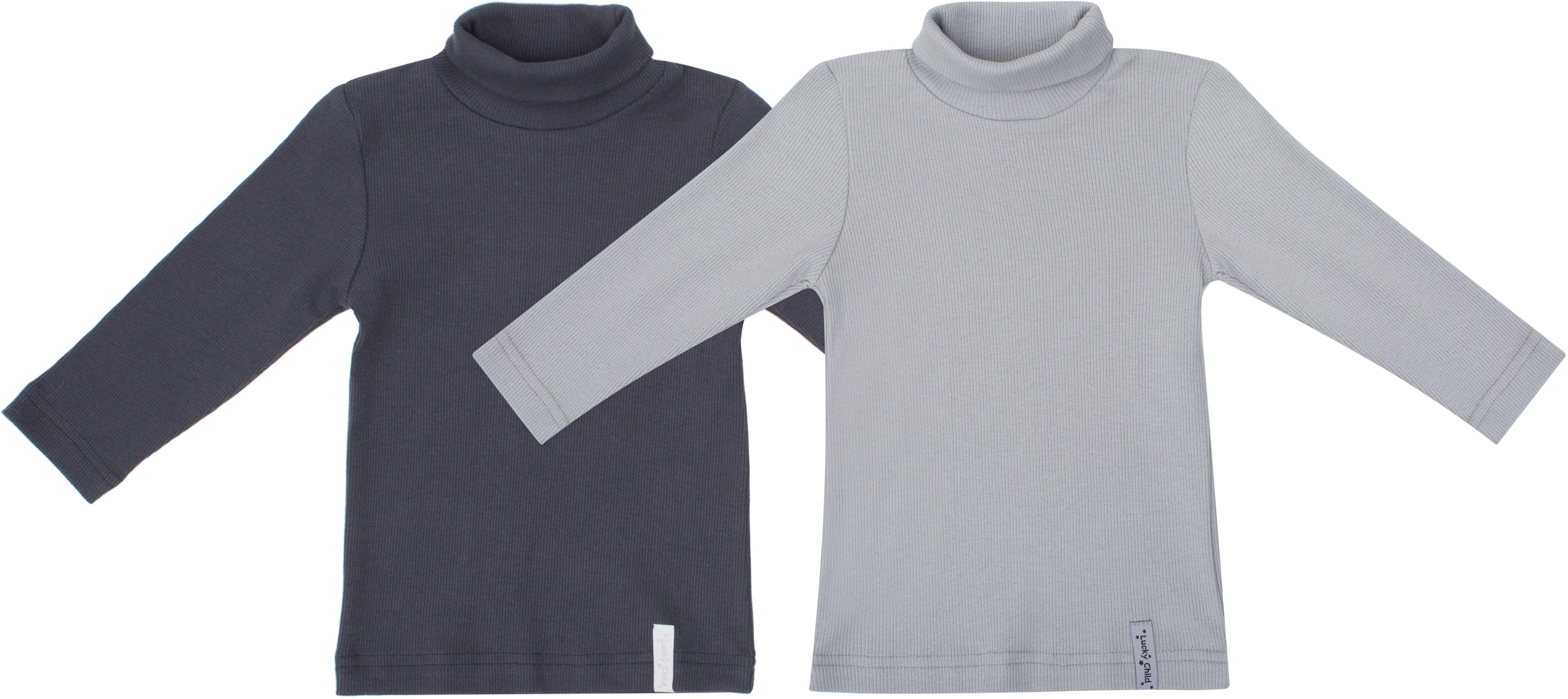 Водолазка для мальчика Lucky Child Дуэт, цвет: серый, темно-серый, 2 шт. 33-23. Размер 74/8033-23Водолазки давно покорили все мировые подиумы. Этот предмет одежды не только стильный, но ещё и функциональный. Водолазки из коллекции Дуэт представлены в двух базовых цветах, их легко сочетать с любой одеждой.