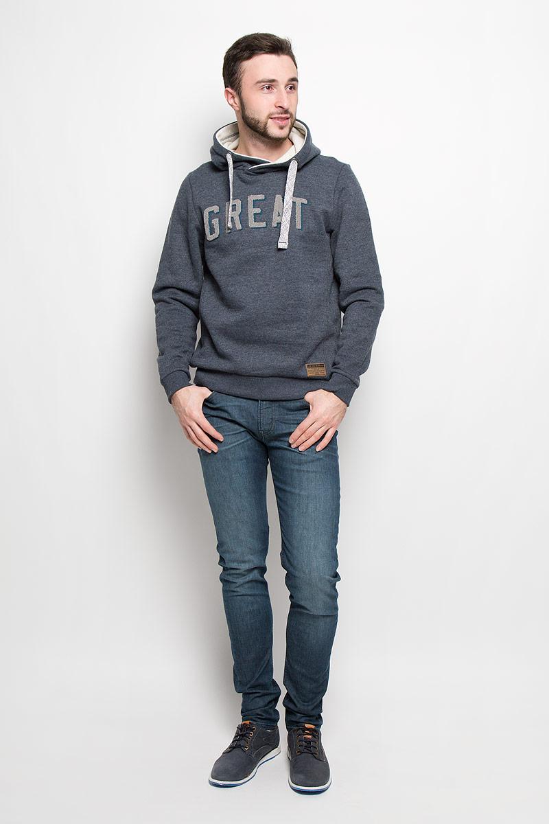 Толстовка мужская Tom Tailor, цвет: серо-синий. 2530682.00.10_6012. Размер L (50)2530682.00.10_6012Мужская толстовка Tom Tailor выполнена из хлопка с добавлением полиэстера. Модель с капюшоном и длинными рукавами. Край капюшона дополнен шнурком-кулиской. Манжеты рукавов и низ изделия дополнены широкими трикотажными резинками.
