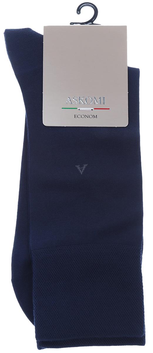 Носки мужские Askomi, цвет: темно-синий. АМ-3600. Размер 27 (41/42)АМ-3600Мужские носки Askomi изготовлены из высококачественного бамбука с добавлением полиамидных волокон, обладают повышенной прочностью и мягкостью, не садятся и не деформируются. Изделие оснащено двойным бортом для плотной фиксации, который не пережимает сосуды, а также кеттельным швом, не ощутимым для ноги. Мысок и пятка усилены.