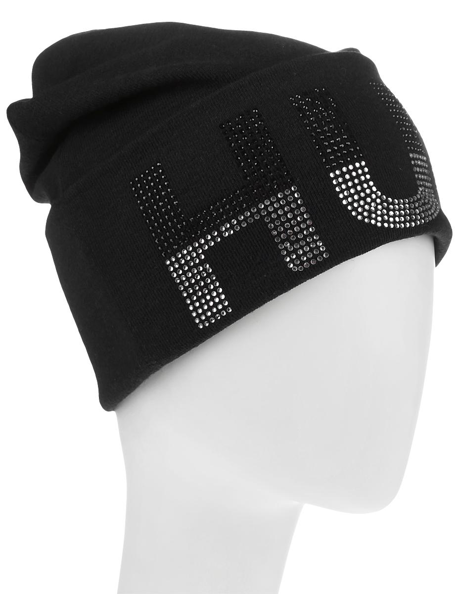 Шапка женская Level Pro, цвет: черный. 383580. Размер 56/58383580Стильная женская шапка Level Pro дополнит ваш наряд и не позволит вам замерзнуть в холодное время года. Шапка выполнена из шерсти и полиэстера, что позволяет ей великолепно сохранять тепло и обеспечивает высокую эластичность и удобство посадки. Изделие оформлено небольшим отворотом с принтовой надписью, выложенной из страз. Такая шапка составит идеальный комплект с модной верхней одеждой, в ней вам будет уютно и тепло.