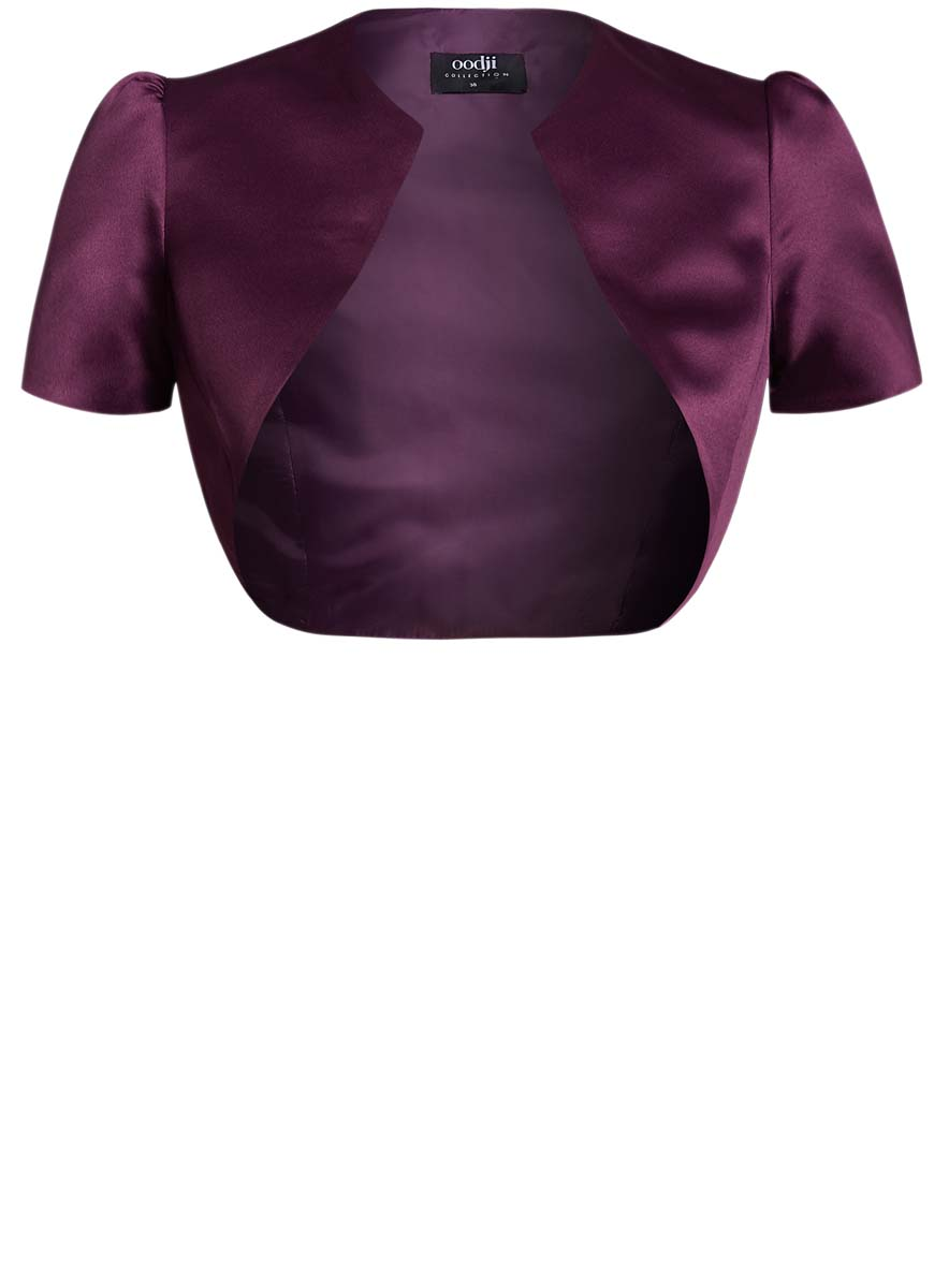 Болеро женское oodji, цвет: темно-фиолетовый. 22A00003-2/24393/8800N. Размер 38 (44-170)22A00003-2/24393/8800NОригинальное болеро изготовлено из полиэстера на гладкой подкладке.Модель с V-образным вырезом горловины и короткими рукавами-фонариками.Болеро - отличное дополнение к кофточке или платью.