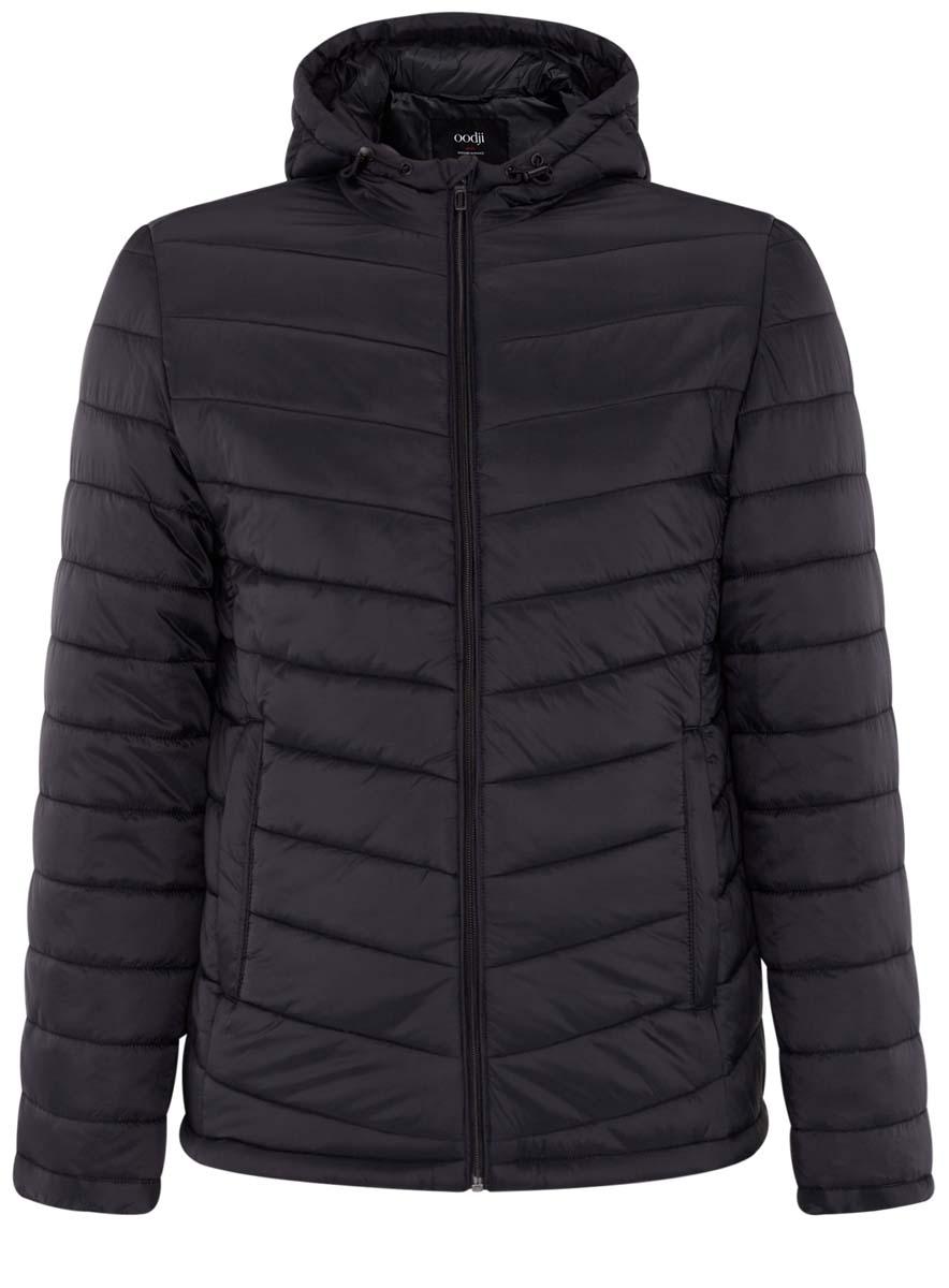Куртка мужская oodji Basic, цвет: черный. 1B112001M/25278N/2900N. Размер L (52/54-182)1B112001M/25278N/2900NМужская куртка oodji Basic выполнена из 100% полиамида. В качестве подкладки и утеплителя используется 100% полиэстер. Модель с капюшоном застегивается на застежку-молнию с защитой для подбородка и имеет внутреннюю ветрозащитную планку. Край капюшона и низ изделия дополнены эластичным шнурком-кулиской со стоплерами. Низ рукавов имеет узкие манжеты на кнопках. Спереди расположены два прорезных кармана на застежках-молниях, а с внутренней стороны - накладной карман.