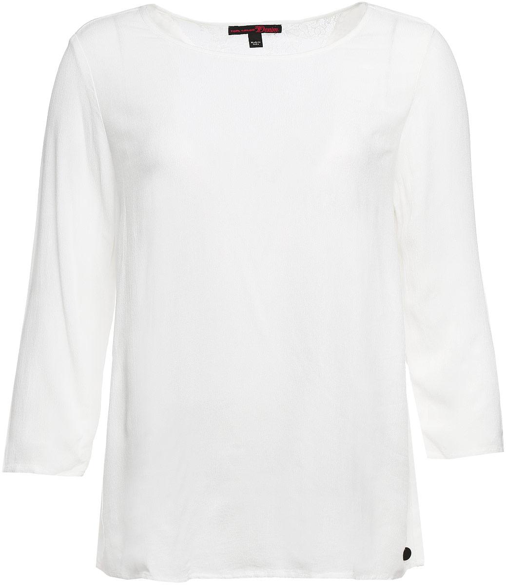 Блузка женская Tom Tailor Denim, цвет: белый. 2032753.00.71_8005. Размер L (48)2032753.00.71_8005Блузка Tom Tailor Denim выполнена из вискозы. Модель с круглым вырезом горловины и стандартными длинными рукавами, на спинке модель декорирована кружевной V-образной вставкой из полиамида. Низ дополнен металлической пластиной с логотипом бренда.