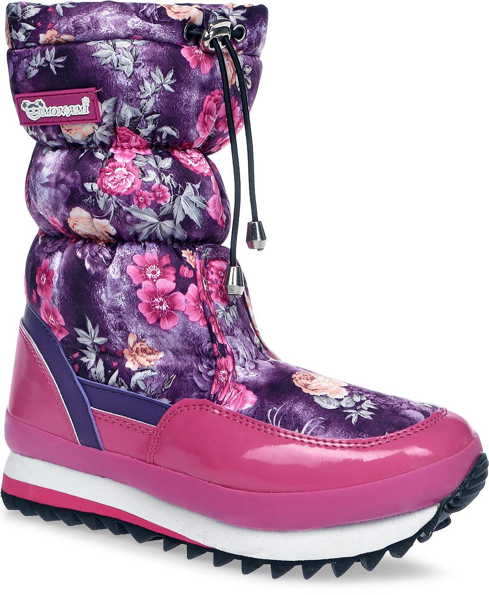 Дутики женские Mon Ami, цвет: красный, бежевый. 3890. Размер 393890/FUXIAПрактичные и удобные женские дутики от Mon Ami - отличный вариант на каждый день. Модель выполнена из комбинации искусственной кожи с гладкой лаковой поверхностью и текстиля, оформленного яркими цветочными изображениями. По ранту обувь дополнена вставкой из полимерного материала. Верх изделия оформлен шнурком с фиксатором, который надежно фиксирует модель на ноге и регулирует объем. Фурнитура исполнена из пластика. Подкладка и стелька, изготовленные из искусственного меха, согреют ноги в мороз и обеспечат уют. Задник декорирован принтом в виде логотипа бренда. Подошва из полимерного термопластичного материала - с противоскользящим рифлением. Удобные дутики придутся вам по душе.