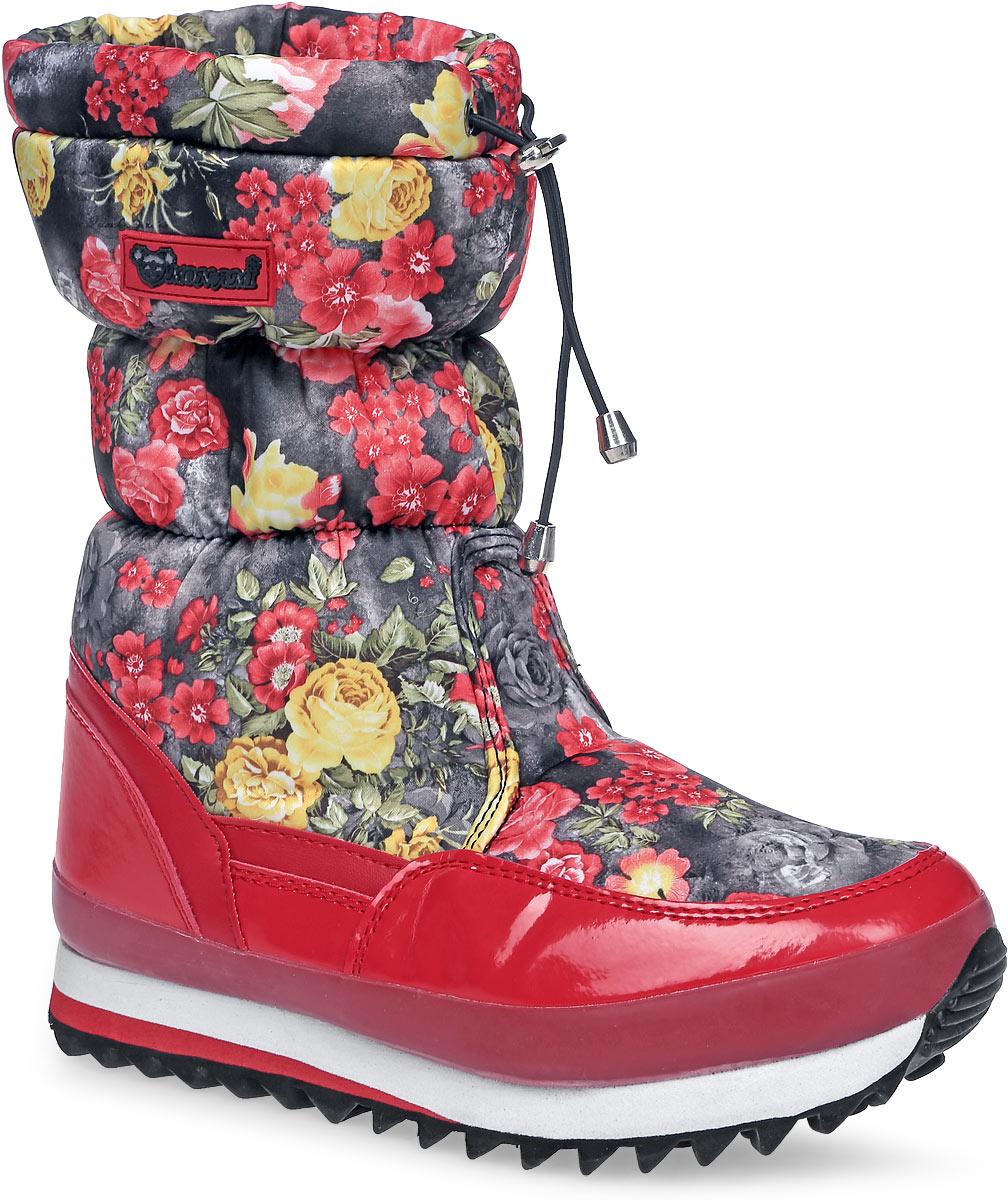 Дутики женские Mon Ami, цвет: черный, розовый, белый, мятный. 3890. Размер 403890/ RED/BLACKПрактичные и удобные женские дутики от Mon Ami - отличный вариант на каждый день. Модель выполнена из комбинации искусственной кожи с гладкой лаковой поверхностью и текстиля, оформленного яркими цветочными изображениями. По ранту обувь дополнена вставкой из полимерного материала. Верх изделия оформлен шнурком с фиксатором, который надежно фиксирует модель на ноге и регулирует объем. Фурнитура исполнена из пластика. Подкладка и стелька, изготовленные из искусственного меха, согреют ноги в мороз и обеспечат уют. Задник декорирован принтом в виде логотипа бренда. Подошва из полимерного термопластичного материала - с противоскользящим рифлением. Удобные дутики придутся вам по душе.